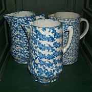 "Antique Blue & White Spongeware Pitcher -9""- Embossed Base"