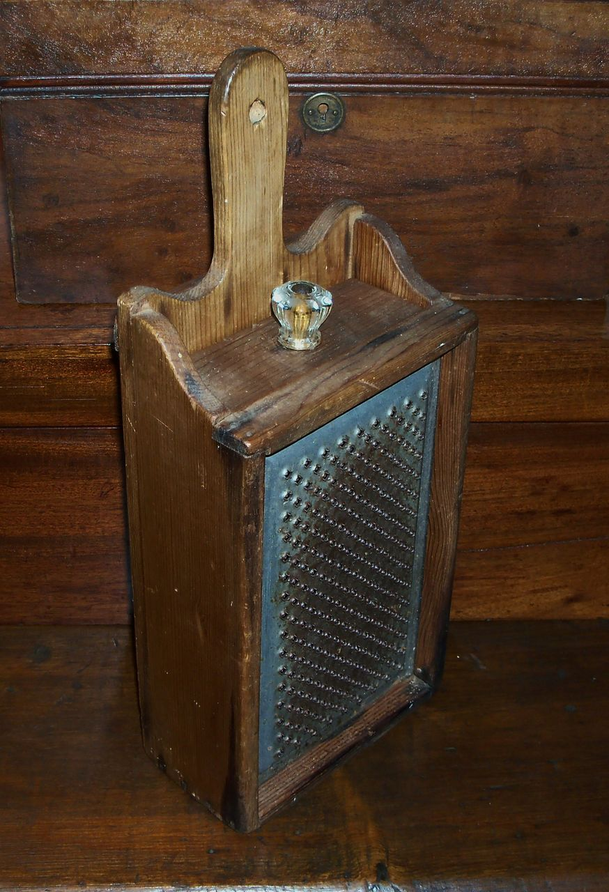 Antique Primitive Wood Box Grater with Drawer