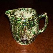 Green & Brown Spongeware Barrel Keg Pitcher - Morton Pottery - Woodland Glaze