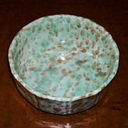 "Green & Brown Spongeware Bowl 6"" - Morton Pottery - Woodland Glaze"