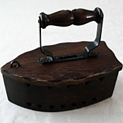 Folk Art Wooden Flat Iron Bank