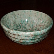 "Green & Brown Spongeware Bowl  9 1/4"" - Morton Pottery - Woodland Glaze"