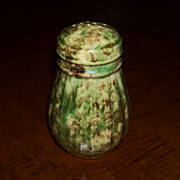 Green & Brown Spongeware Shaker - Morton Pottery - Woodland Glaze