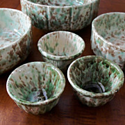 Green & Brown Spongeware Custard Cups (3) - Morton Pottery - Woodland Glaze