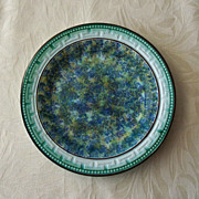 Antique Spongeware Plate - Blue Green Yellow - Wheildon Pottery Style