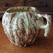 Green & Brown Spongeware Double Spout Pitcher - Melon Shape - Morton Pottery - Woodland Glaze