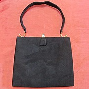 Art Deco suede Italian bag,with deco stale gold tone frame.