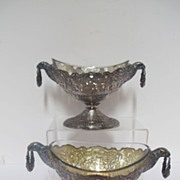 Antique,19 century pair silver plated dishes,original glass liners,decorated with eagle heads,