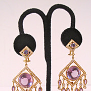 Made by Zorab 18k gold large chandelier earrings with diamonds & amethysts.