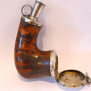 18th Or early 19th century hand made german silver & wood tobacco pipe.