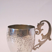 Antique 84 silver Russian cup. Beautiful engraving and initials on front.