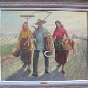 "Russian oil painting from 1930 by V. Lazarev "" Russian farmers"". Signed."