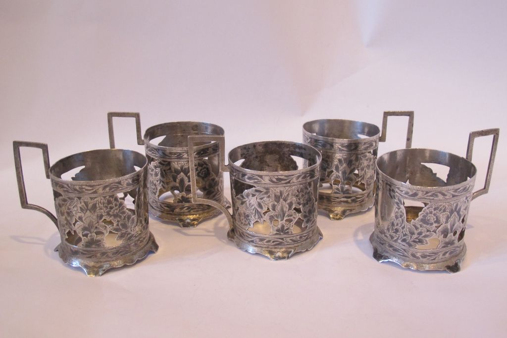 19th Century glass holders, set of five, decorated with niello flowers.