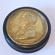Late 18 or Early 19 century round box,decorated with large gilded medallion on the top.Signed
