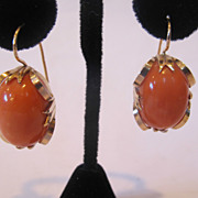 Very rare coral earrings mounted in 14k gold. Very rare. Marked.