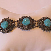 Chinese export silver and turquoise bracelet, very beautiful. Marked.