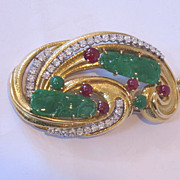 Magnificent quality Authentic David Webb 18k gold , diamonds, rubies & green jade.