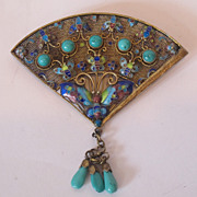 Chinese export silver pin decorated with enamel, turquoise. very beautiful.
