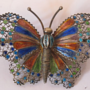 800 silver enamel large butterfly. Decorated with enamel. Marked.