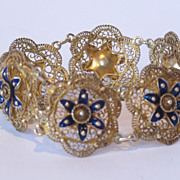 Silver bracelet gilded. Decorated with filigree silver and enamel. Marked.