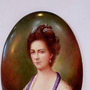 19th century hand painted porcelain plaque. Portrait of young lady. SIgned.