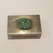 Yamanaka Sterling Silver match case made with real green jade. Marked.