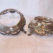 Antique french sterling silver pair large stands. Magnificent quality. Marked.