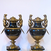 Antique black marble lamp bases with magnificent quality bronze decoration.