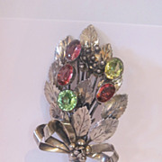 Signed HOBE 1940's sterling silver bouquet pin brooch. Multi Color glass stones.