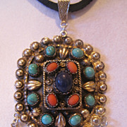 19th century Oriental gilded silver pendant. Lapis,Turquoise, coral, Jade.