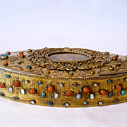 19th Century French Vermeil Silver Box. Decorated with corals, turquoise, pearls.