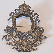 19th Century GALT & BRO hand made sterling frame pin/brooch. Crown & Flower decoration.