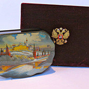 Vintage hand painted Russian Lacquer box. Original box.