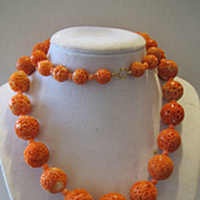 Vintage from 1950-1970 sponge coral necklace with 14k clasp.