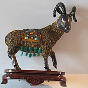 "Chinese export, gilded silver figurine ""Ram"". Decorated with enamel & real stones."