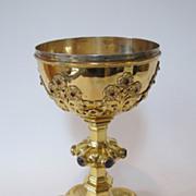 Antique Gilded sterling silver large chalice. Decorated with amethysts & garnets.