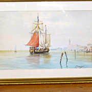 "Antique water color ""Venice"" signed by Italian Artist , A Polidori."