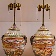 Antique Capo Di Monte Large hand painted porcelain lamps urns.