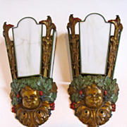 Antique authentic Tiffany & Co Paris hand painted pair bronze sconces. Marked.