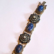 Antique Austro-hungarian silver bracelet. Large real stones.