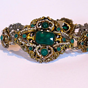 Victoria Austro-Hungarian silver bracelet. Real stones and pearls. Marked.