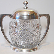 Antique large 800 silver and cut glass punch bowl. Made by E. Goldschmidt.