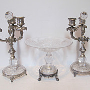 Antique pairpoint set of three pieces silver plate & glass Pair of candelabras & glass center