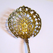 Antique Gorham sterling silver serving bon-bon spoon. Gilded on the bowl, marked.