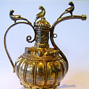 Antique gilded silver small perfume bottle or small pitcher. Hand made in India. Birds.