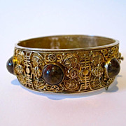 Chinese export gilded filigree silver, tiger eye & bats bracelet bangle.