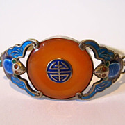Chinese export silver , enamel & carnelian bracelet. decorated with enamel bats.
