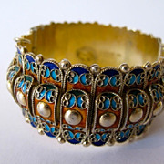 Vintage Greece greek gilded sterling silver and enamel bracelet. Hand made.