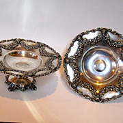 Pair sterling silver compotes made in the 19th century. Theodore Starr Co. NY.