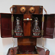 Early 20th century Bar in the shape of a old fashion telephone. Made from wood. Glass decanter